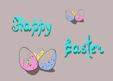 Easter Card. Funny Easter illustration with colorful eggs, happy Easter handwritten text on gradient background. Hand-drawn design for postcard, poster Stock Photography