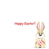 Easter card with funny rabbit. On a white background Royalty Free Stock Photography