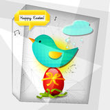 Easter card geometric. Bird nesting Easter egg, geometric elements Easter card Stock Photos
