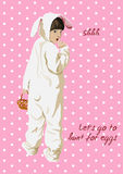 Easter card. Girl in bunny costume with basket. Easter funny card. Lets go to hunt for eggs. Girl in bunny costume with basket. Shhh. Girl presses finger to Royalty Free Stock Photography