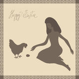 Easter card with girl and chicken. Girl with long hair sits with  bent legs. She plays with chicken  and egg in Easter Sunday. All images look like graceful Stock Image