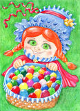 Easter card with girl and eggs stock illustration