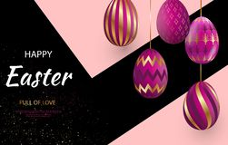 Easter card with gold ornate pi eggs on a dark light background. Easter card with gold ornate pink eggs on a dark light background. Vector illustration Place for stock illustration