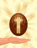 Easter card with golden christian cross Royalty Free Stock Photos