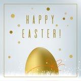 Easter card. With golden egg, glitter. Seasonal greeting postcard royalty free illustration