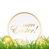 Easter card and golden eggs Royalty Free Stock Photos