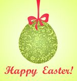 Easter card with green decorative egg Royalty Free Stock Photos