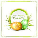 Easter card with green and golden eggs Stock Photography