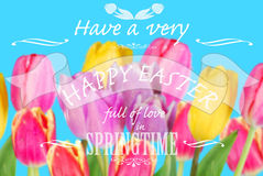 Easter card with greeting text on colorful tulips background Royalty Free Stock Image