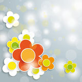 Easter Card Grey Background Colored and White Flow Stock Photos