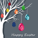 Easter card with hanging eggs Stock Images