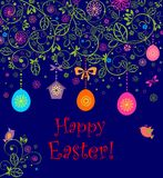 Easter card with hanging eggs, birdhouse and little birds Stock Photo