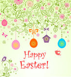Easter card with hanging eggs Royalty Free Stock Photos