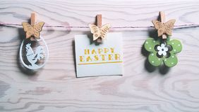 Easter card with the words Happy Easter. stock images