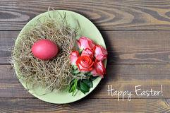 Easter card with Happy Easter text and Easter plate stock photos