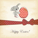 Easter card. Happy easter card. easter rabbit and egg Royalty Free Stock Image