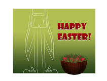 Easter card with hare or rabbit. With eggs vector illustration