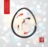 Easter card in japanese style. Little fishes in easter egg on white glowing background. Traditional Japanese ink. Painting sumi-e. Hieroglyph - clarity Royalty Free Stock Photo