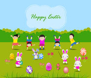 Easter card with kids and rabbits Stock Image