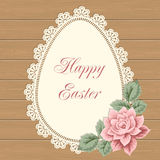 Easter card with lace doily. And hand drawn rose. Vector illustration in retro style stock illustration