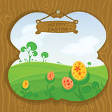 Easter card with landscape. Landscape with Easter eggs. View through the window Stock Photography