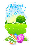 Easter Card with Landscape and Decorated Eggs Royalty Free Stock Photo