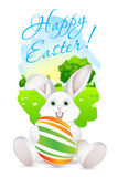 Easter Card with Landscape, Rabbit and Decorated Egg Royalty Free Stock Images