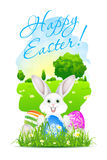 Easter Card with Landscape, Rabbit and Decorated Eggs Stock Images