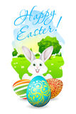 Easter Card with Landscape, Rabbit and Decorated Eggs Royalty Free Stock Photography