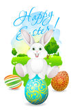 Easter Card with Landscape, Rabbit and Decorated Eggs Royalty Free Stock Images