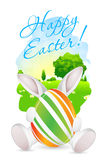 Easter Card with Landscape, Rabbit and Decorated Eggs Stock Photography