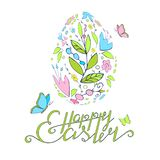 Easter card with lettering butterflies and floral egg. Spring. Happy Easter. EPS 10 stock illustration