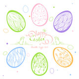 Easter card with lettering: Happy Easter, in a frame of grass. With a rabbit and a bird. Set Doodle Easter eggs, hand-drawn vector illustration in pastel Stock Photos