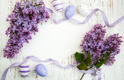 Easter card with lilac flowers. Easter card with easter eggs and lilac flowers Stock Image