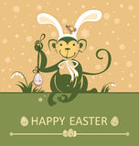 Easter card with monkey with rabbit ears. Stock Photos