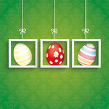 Easter Card Ornaments 3 Eggs Frames Stock Photography