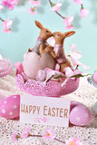 Easter card in pastel colors with greeting text Stock Photography