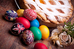 Easter Card With Pastiera And Colorful Eggs royalty free stock images