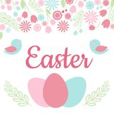 Easter Card with `Easter` phrase, spring floral frame, birds and easter eggs. Vector Illustration Royalty Free Stock Photos
