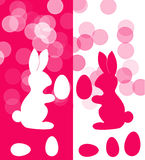Easter card, pink white bunnies Stock Photos