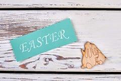 Easter card, plywood rabbits cutout. Stock Photo