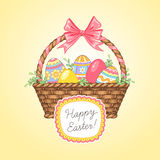 Easter card. Pretty basket with eggs. Easter card for your design Royalty Free Stock Photos