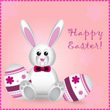 Easter card with pretty rabbit and text Stock Photos