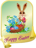 Easter card with rabbit. Easter card with easter basket and rabbit Stock Image