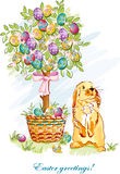 Easter card with rabbit and basket-EPS10. Festive postcard with Easter eggs, baskets and bunnies Royalty Free Stock Images