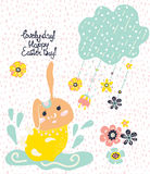 Easter card with rabbit Royalty Free Stock Photo