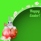 Easter card with rabbit and colored Easter eggs. Royalty Free Stock Images