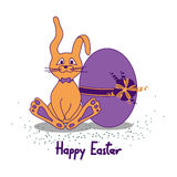 Easter card with rabbit and egg Stock Images