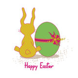 Easter card with rabbit and egg Stock Photo