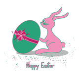 Easter card with rabbit and egg Royalty Free Stock Photography